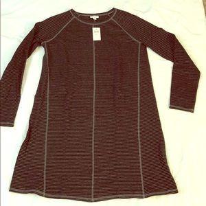 NWT J Jill Black/Gray Striped Tunic Medium Tall